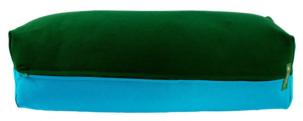 Yoga Bolster eckig Colorline dunkelgrün + türkis