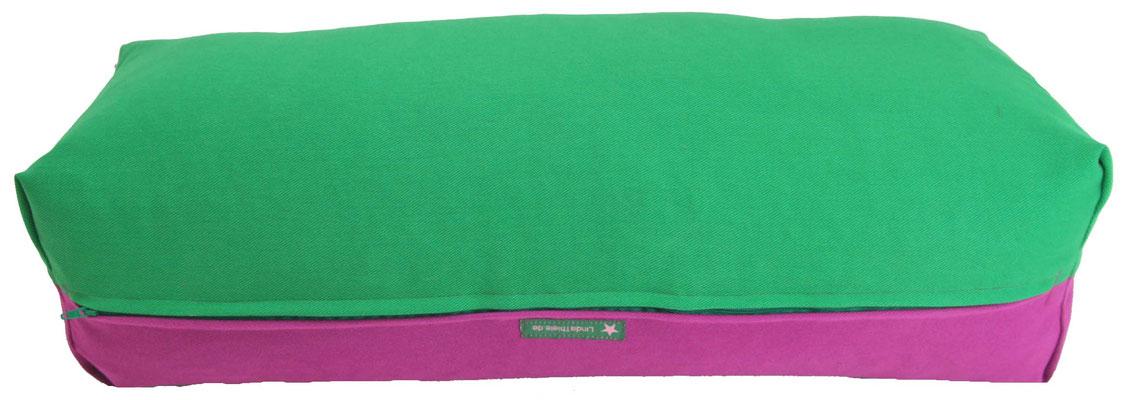 Yoga Bolster eckig Köln grasgrün + rotviolett