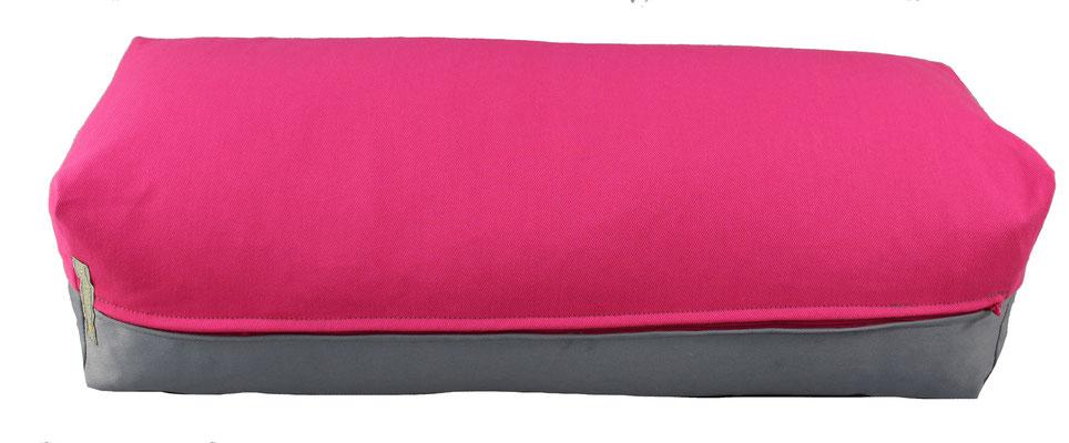 Yoga Bolster eckig Köln pink + silbergrau