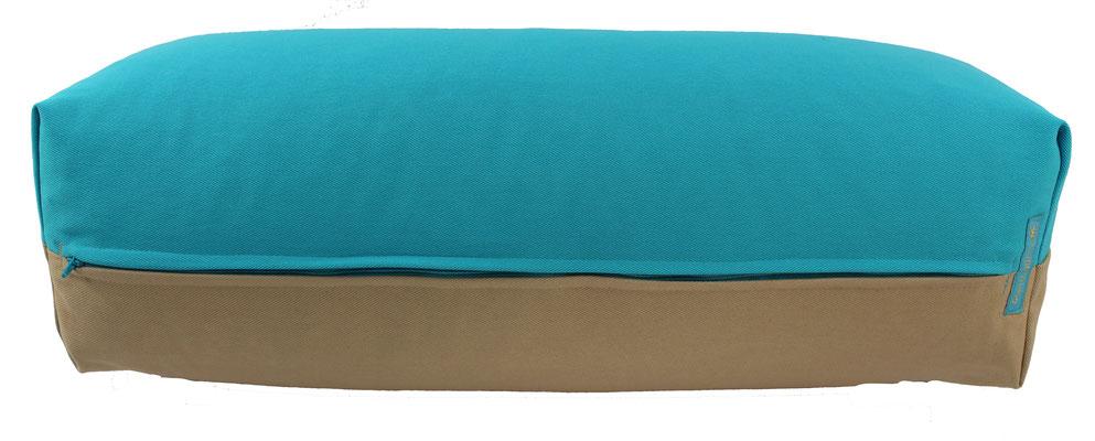 Yoga Bolster eckig Colorline türkis + beige
