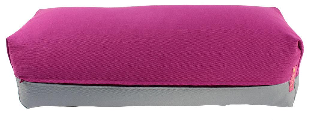Yoga Bolster eckig Köln rotviolett + silbergrau