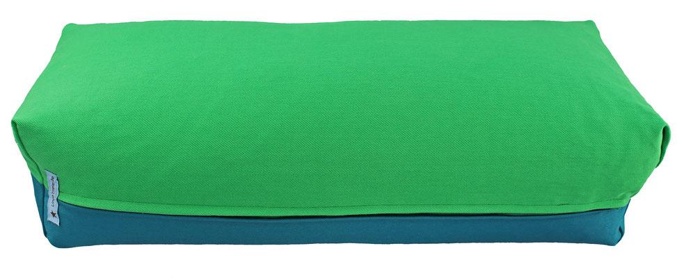 Yoga Bolster eckig Köln grasgrün + petrol