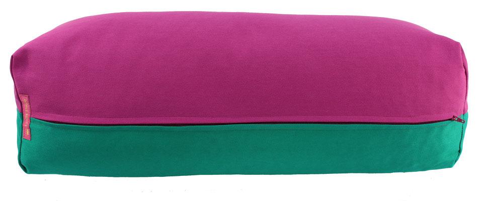 Yoga Bolster eckig Köln rotviolett + seegrün