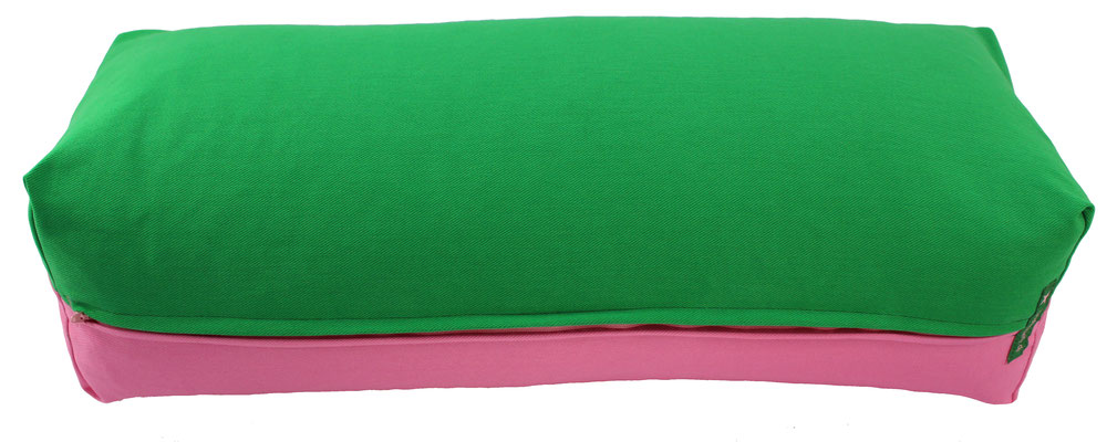 Yoga Bolster eckig Köln grasgrün + rosa