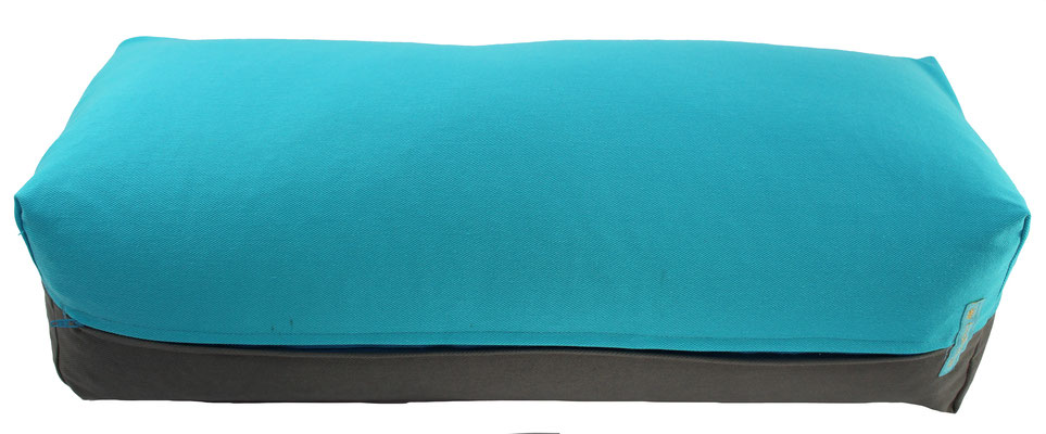 Yoga Bolster eckig Colorline türkis + mittelgrau