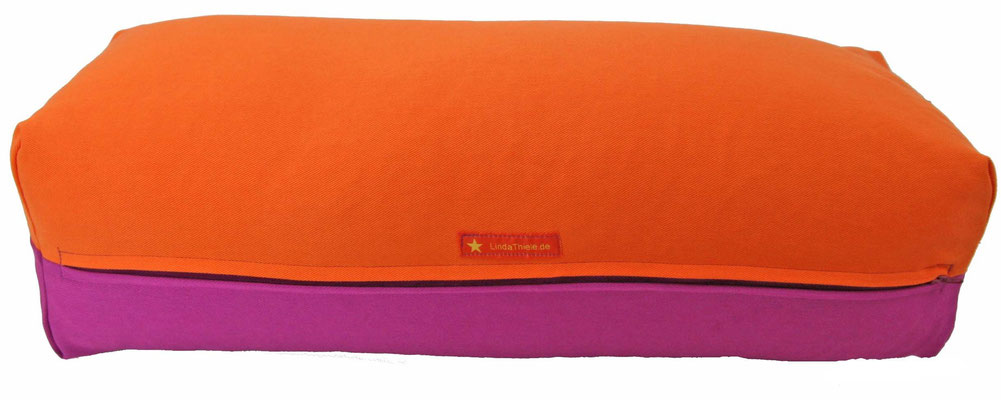 Yoga Bolster eckig Köln orange + rotviolett