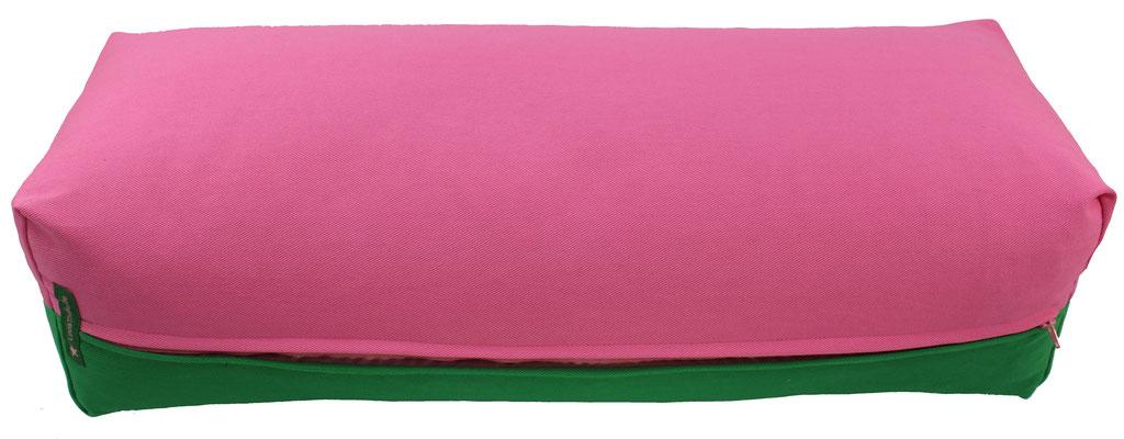 Yoga Bolster eckig Köln rosa + grasgrün