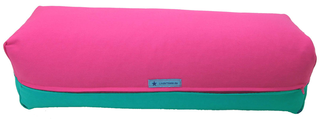 Yoga Bolster eckig Köln pink + seegrün