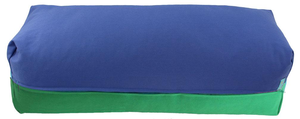 Yoga Bolster eckig Köln jeansblau + grasgrün