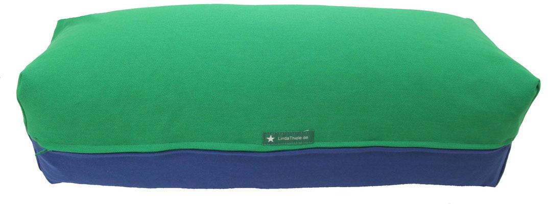 Yoga Bolster eckig Köln grasgrün + jeansblau