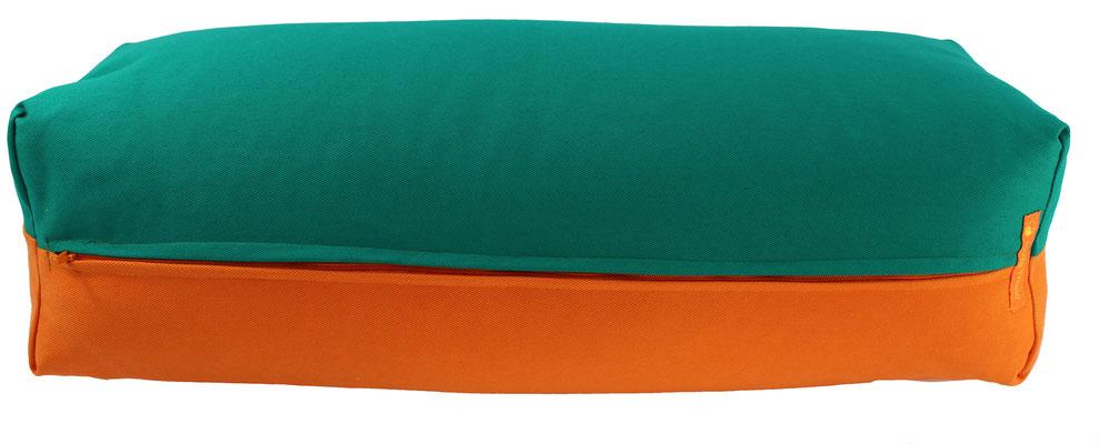 Yoga Bolster eckig Köln seegrün + orange