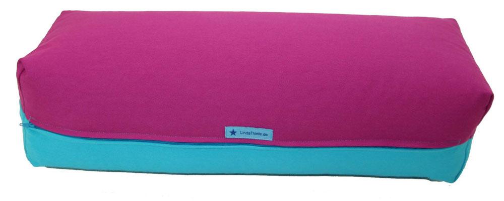 Yoga Bolster eckig Colorline rotviolett + türkis