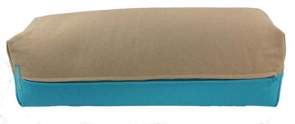 Yoga Bolster eckig Colorline beige + türkis