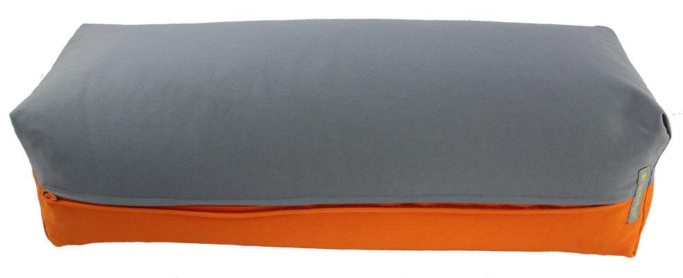 Yoga Bolster eckig Köln silbergrau + orange