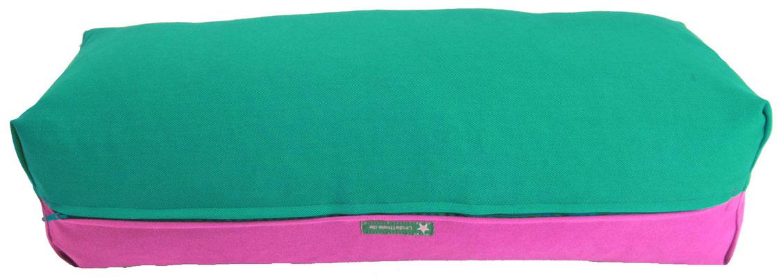Yoga Bolster eckig Köln seegrün + pink