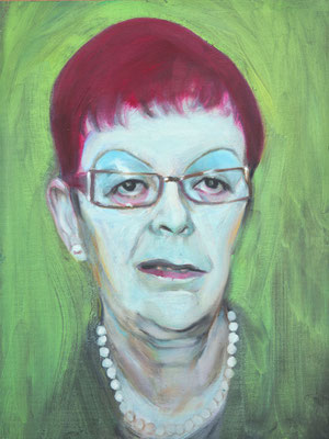 Magenta with the pearl necklace, (the Legacy, Nr 26) --- oil on  canvas ---  30,5 cm  x 40,6 cm --- 2019