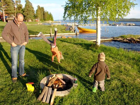 Unsere Feuerstelle, leider ohne Fisch!