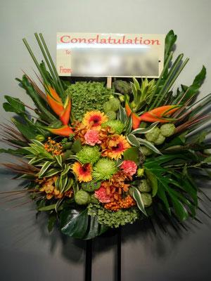 南国風イメージのスタンド花東京都23区送料無料。アジア、ハワイの雰囲気。フラダンス等に。