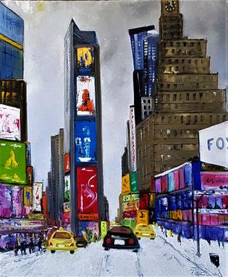 Neige à Times Square (huile 61x46)