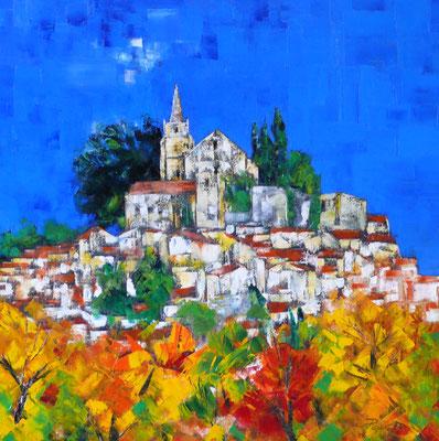 Soir d'automne à Bonnieux (huile 80x80)