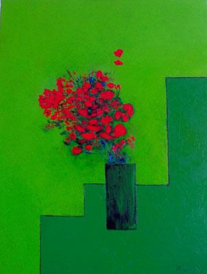 Le bouquet vert et les coquelicots ( huile116x89)