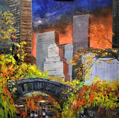 Gapstow Bridge Central Park (huile 80x80)