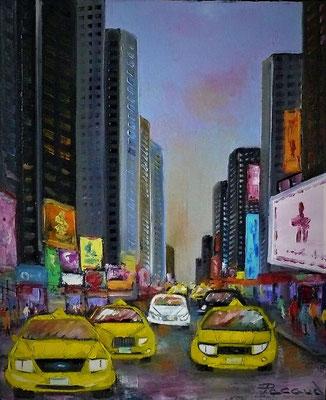 les taxis jaunes (huile46x38)