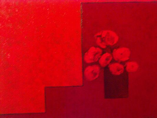 Vase rouge sur fond rouge 3 (huile 116x89)