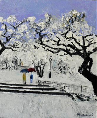 Promenade dans Central Park en Hiver (huile55x46)