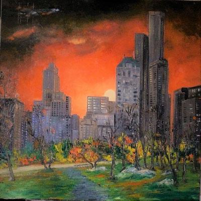 Soir d'automne à Central Park (huile 80x80)