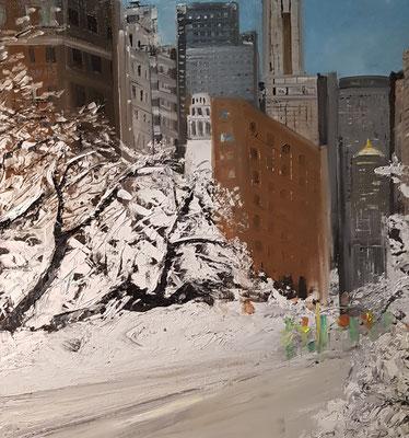 Neige sue N.Y (Huile 80x80)