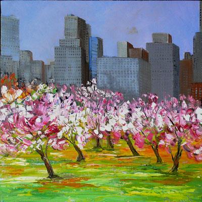 Magnolias à Central Park (huile 80x80)