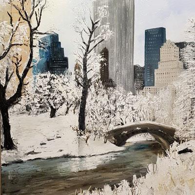 Central Park sous la neige (Huile 80x80)