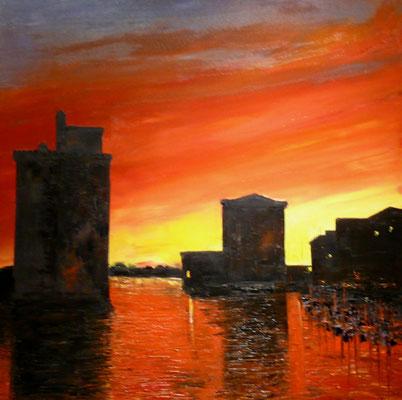 Coucher de  soleil sue La Rochelle (huile 80x80)