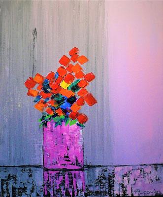 L e vase Rose (huile 55x46)