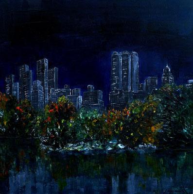Le Lac de Central Park un soir (huile 80x80)