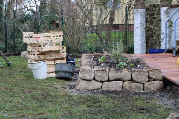 Das Ergebnis der Trockensteinmauer, trockenheitsliebende Pflanzen sind eingezogen.