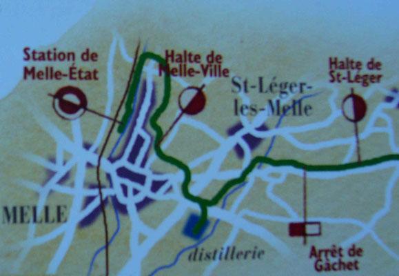 """L'emplacement de la halte """"Melle-Ville"""" sur la ligne de tramway."""