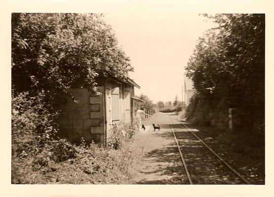 Les anciennes voies, en 1960. Elles ont été utilisées jusqu'en 1975 par l'usine Rhodia, pour le transport des produits chimiques.