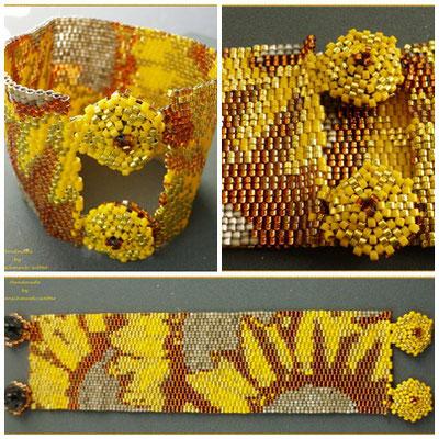 Sonnenblumen erstrahlen. Verschluss Druckknopfblüten 38,50€