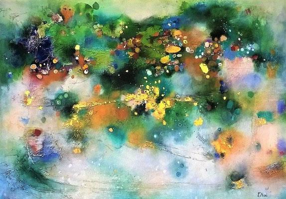 """"""" Sfumature di una vita"""" Acrilico e foglia oro zecchino 70x100 cm Collezione privata"""
