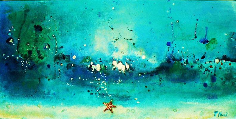 """"""" Il ballo del mare"""" Acrilico e foglia argento 30x60 cm Collezione Privata"""