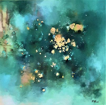 """"""" La poesia del bosco"""" Acrilico 80x80 cm Collezione privata"""
