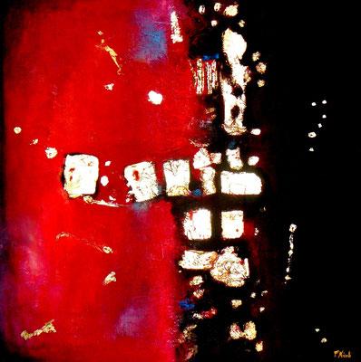 """"""" Il rosso ed il nero"""" Acrilico e foglia oro 70x70 cm"""