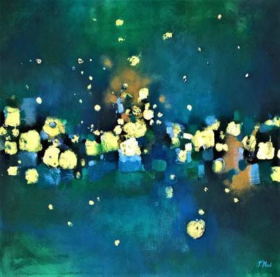 """"""" Tra le stelle"""" Acrilico su fondo materico 80x80 cm"""