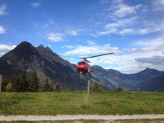 Ankunft Helikopter