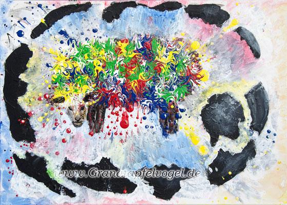 Schwarzes Schaf ..  Acryl auf Leinwand .. 50 x 70
