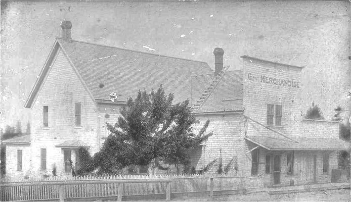 The Foothills General Mercantile Store. Located on Forker Road at the south end of the old fill. Built by O.H. Allison in 1900 Later owned by ? Boswell, followed by George Judkins, followed by Mary E. Pipgras and her son Lester, and finally by ? Jackson.