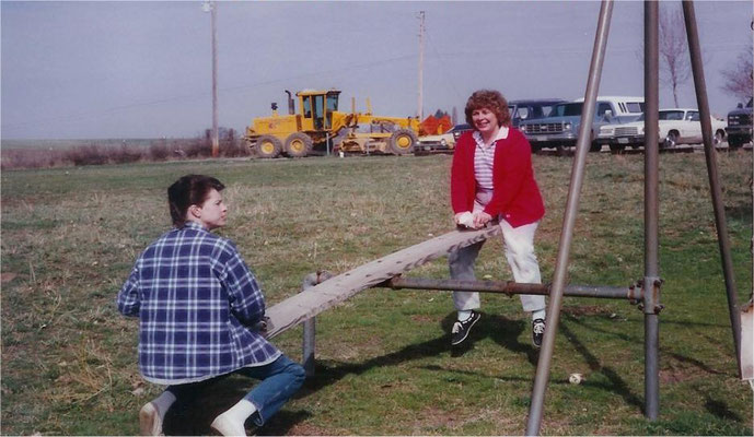 Dani Atwood & Elaine Shaw check out the playground equipment in 1990