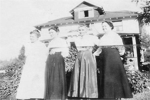 Photo taken at the John Johnson home at the end of Lincoln Road, circa 1918. Mrs. McCoy, Tilda Johnson, Linda Pynn, Mary Johnson